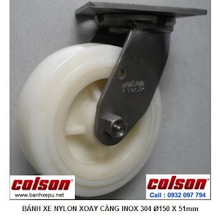 Bánh xe đẩy càng xoay thép không rỉ inox 304 Nylon Colson | 64001 www.banhxepu.net