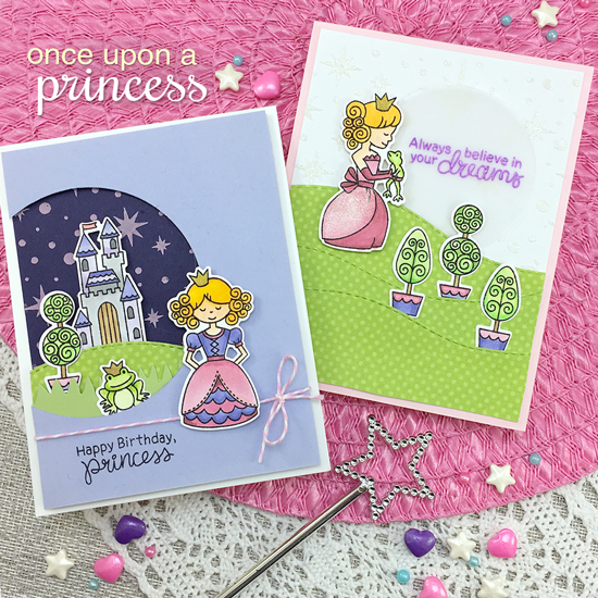 Princess Cards by Jennifer Jackson | Once Upon a Princess stamp set by Newton's Nook Designs #newtonsnook #princess #handmade