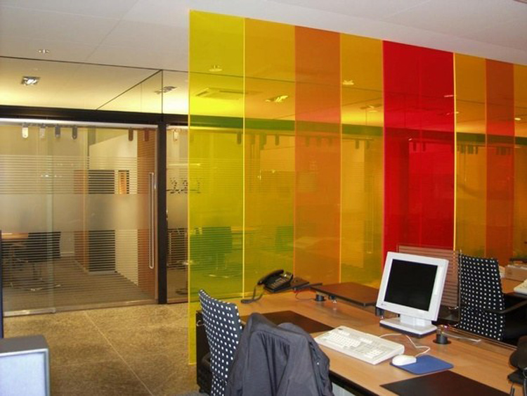 Different colors of glass partition
