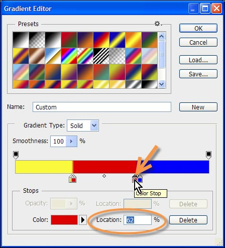determine color stop location