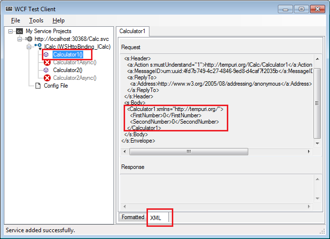 Execute wcf service using WCF Test client