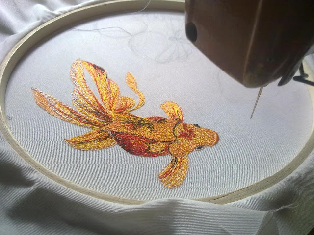 goldfish embroidery art