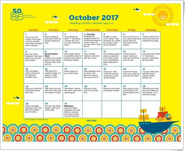 """""""Calendario de actividades de Octubre de 2017"""" (Para trabajar la lectura en Educación Infantil)"""