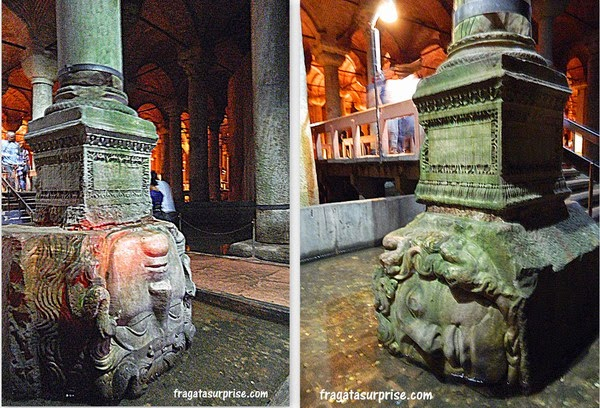 Cabeças de Medusa servem de base a duas colunas da Cisterna da Basílica, em Istambul