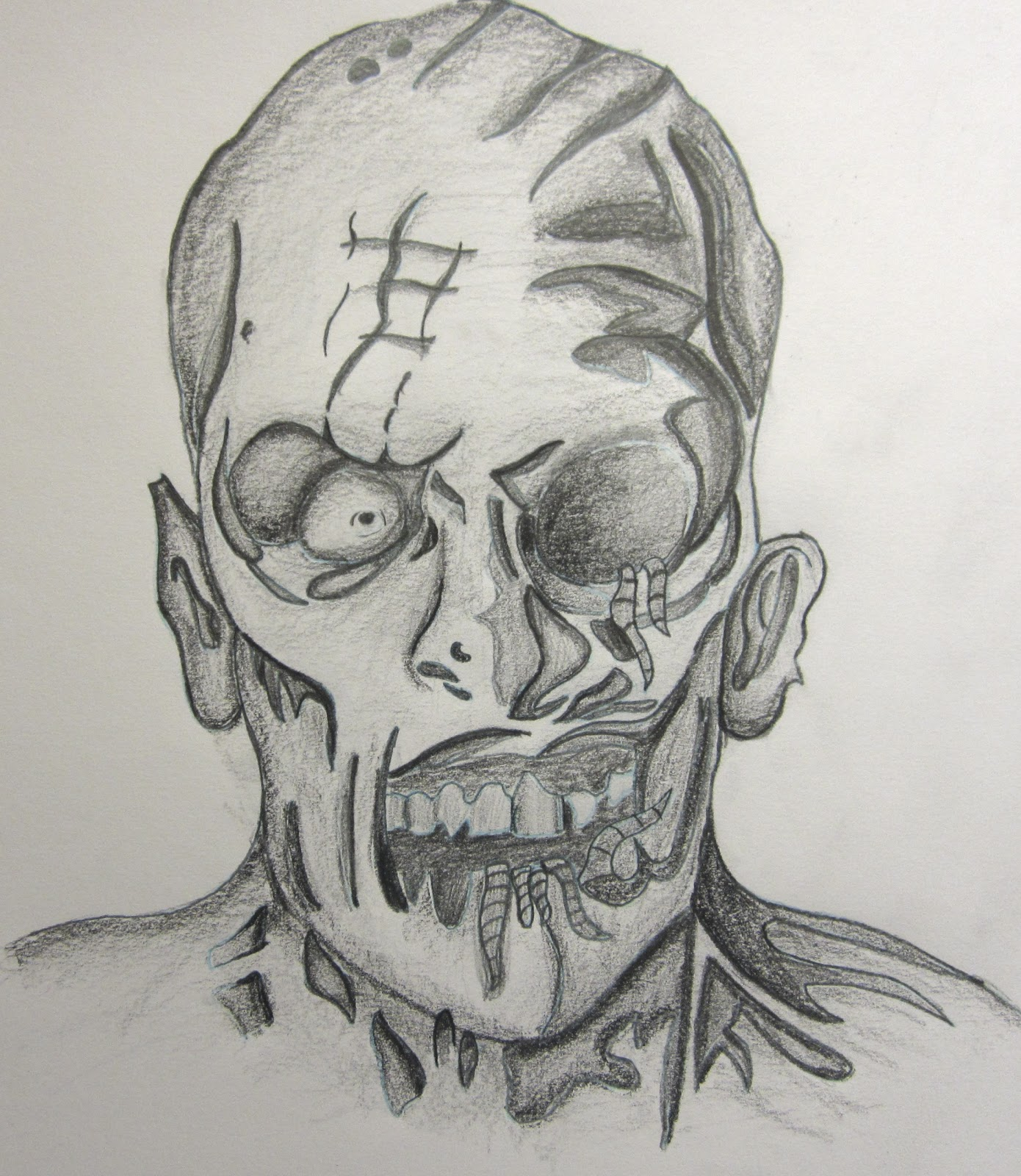 How To Draw A Simple Zombie Face Jpg 1390x1600 Realisim Zombie Face Drawings