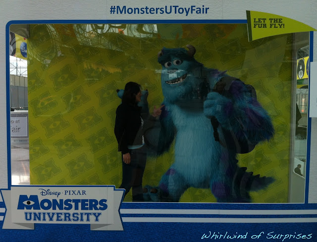 Getitng my picture with Sulley after we found the photobooth the next day, #MonstersUToyFair, Monsters University preview
