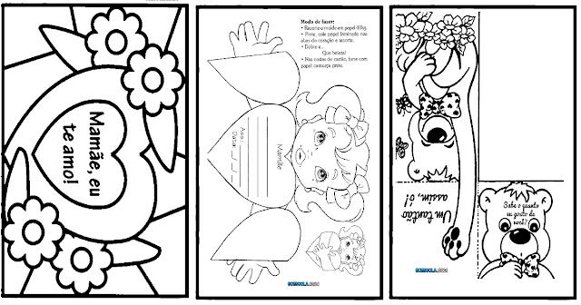 Confira vários Modelos de cartões do Dia das Mães para imprimir e colorir.