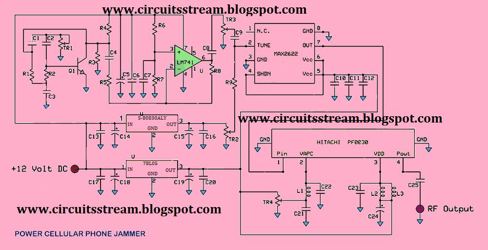 Full Power Mobile Phone Jammer Circuit Diagram