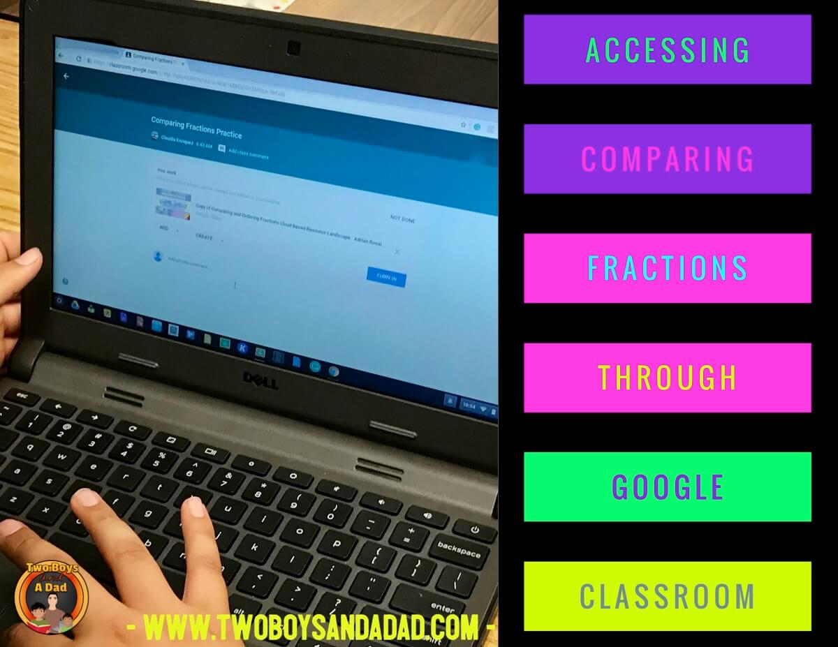 comparing fractions using Google Slides and Google Classroom