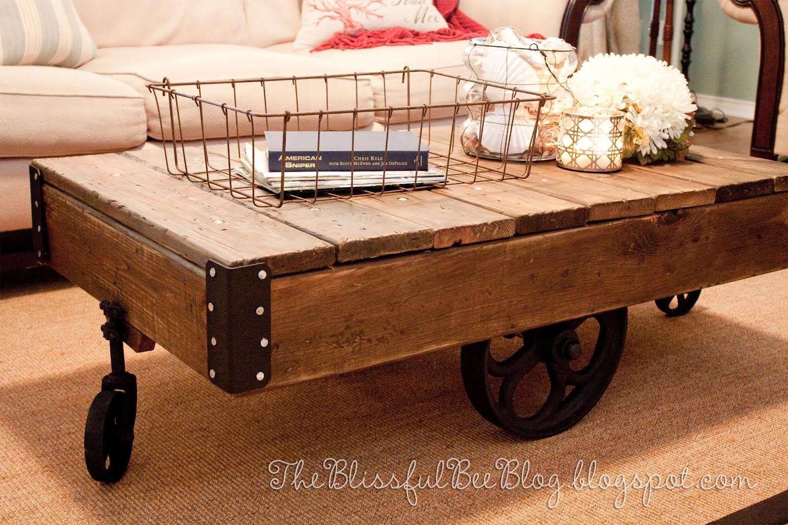Factory Cart Table DIY { Restoration Hardware Inspired ...