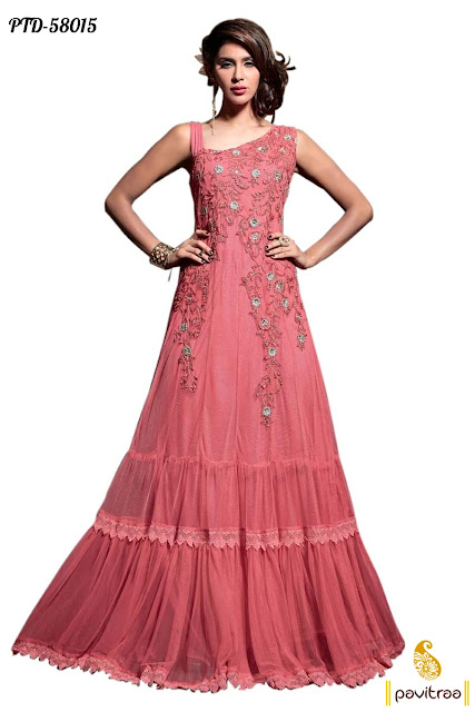 New fashion 2016 pink net bidal wear anarkali salwar suit online shopping