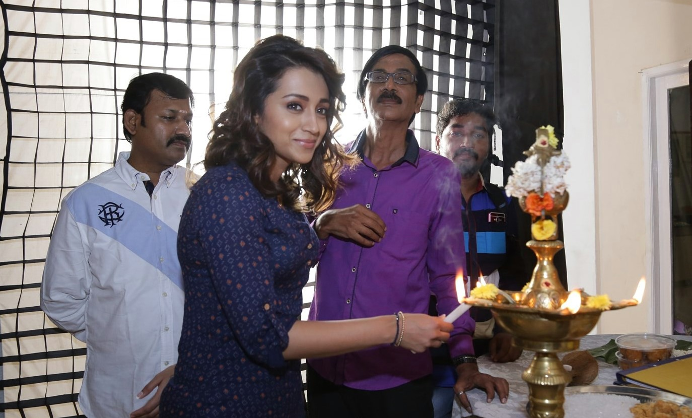 Actress Trisha Stills In Blue Dress At Shooting Spot