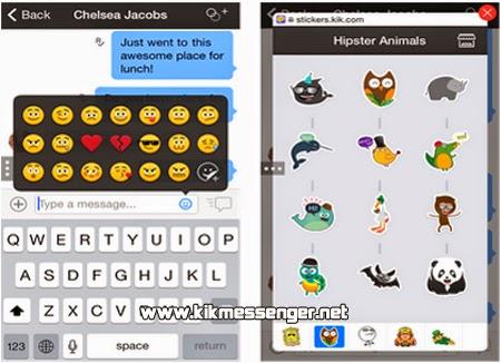 Comparte los nuevos Stickers y Smileys con tus amigos de Kik Messenger.