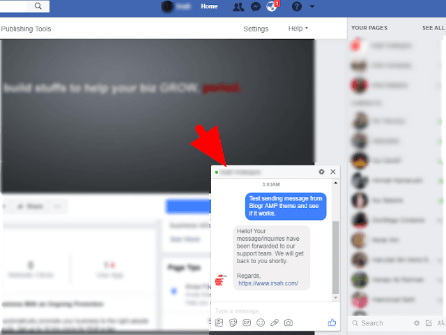 Facebook Messenger Live Chatbox for AMP HTML Blogger Themes