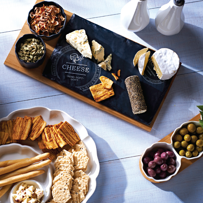 Cheese boards, wine glasses