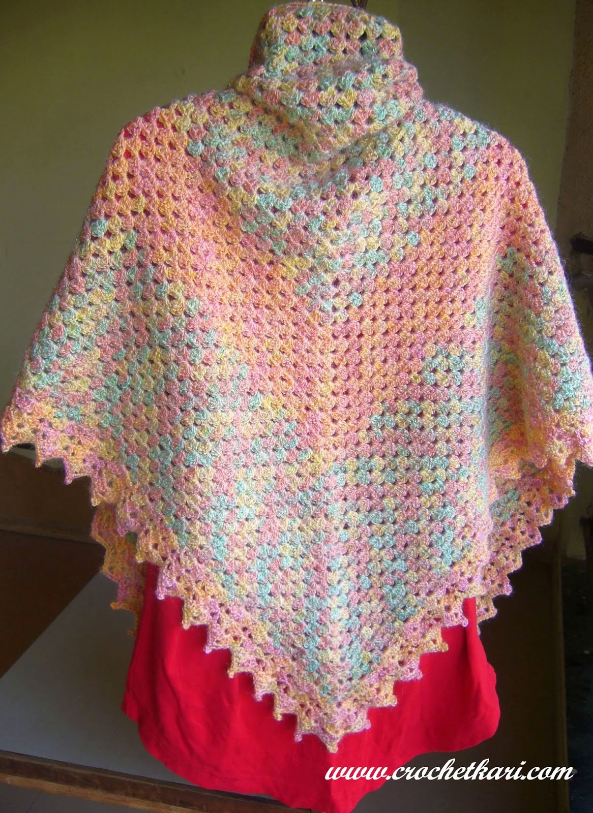 crochet rainbow triangle shawl