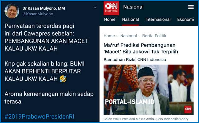 Ma'ruf Prediksi Pembangunan 'Macet' Bila Jokowi Tak Terpilih, Gak Sekalian Bumi Berhenti Berputar Kalau Jokowi Kalah?