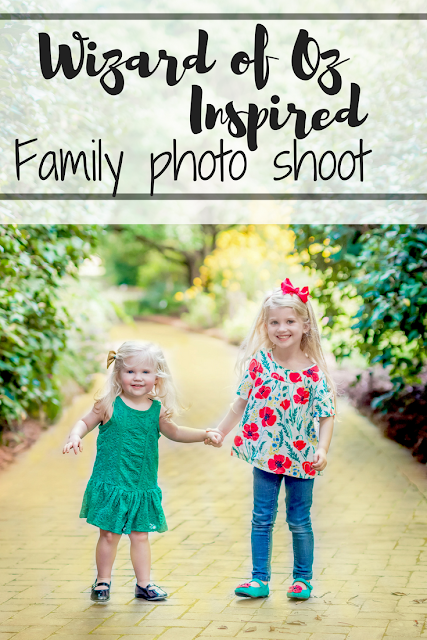 Wizard of Oz inspired family and children's photo shoot. Doroty, ruby slippers, yellow brick road photo shoot. Photo by Elles Photography
