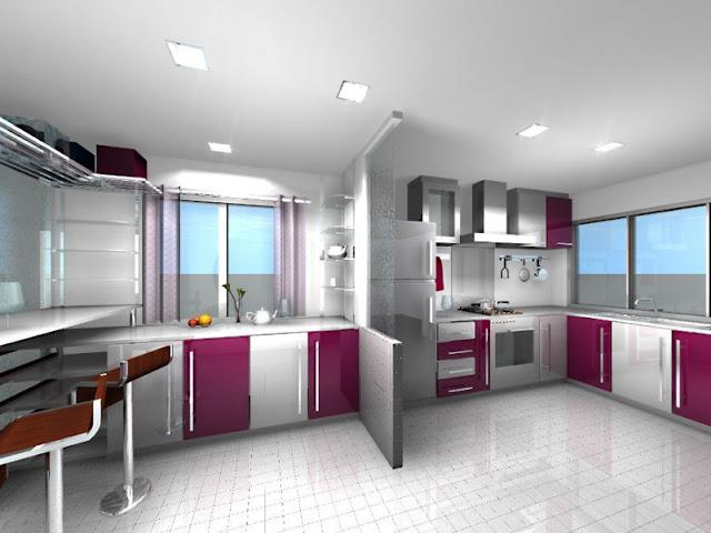 Ide design lemari dapur minimalis untuk layout U