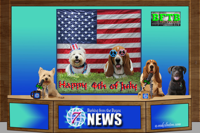 BFTB NETWoof dog news with happy 4th of July in background