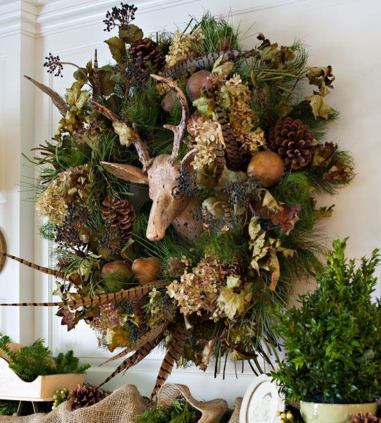 Autumn Wreath Ideas Pheasant Feather Tap Holly