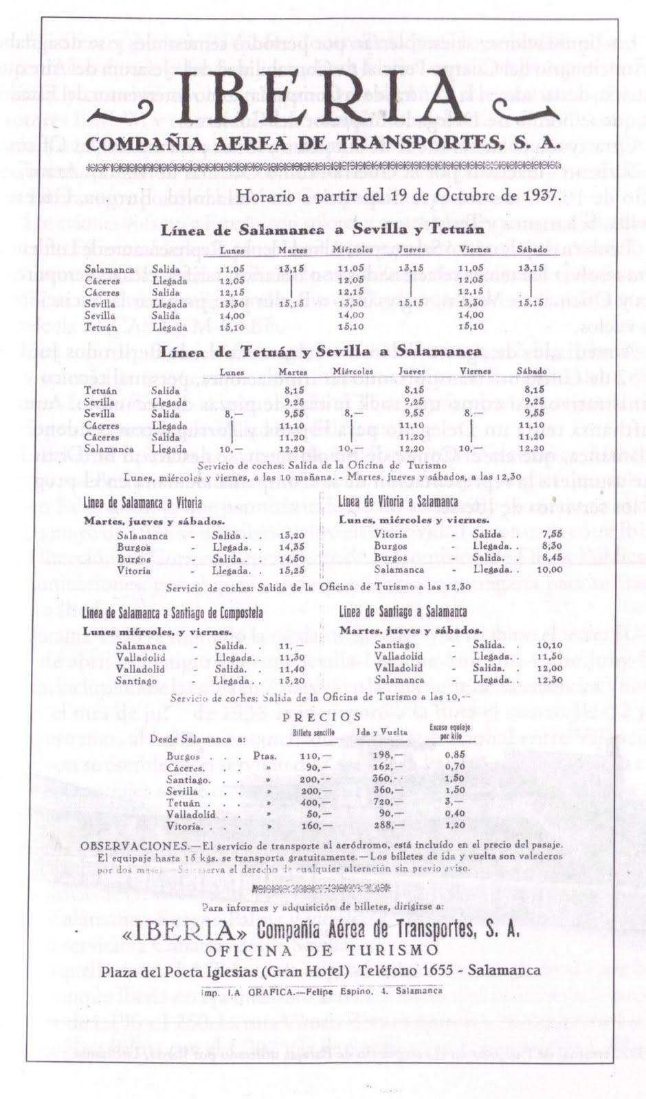 Rutas, horarios y tarifa de Iberia, vigente a partir de octubre de 1937. La imagen procede del libro Aquella IBERIA que hemos vivido: cronología de seis décadas, junio 1927-junio 1987, de Juan Viniegra Velasco, editado en 1996.