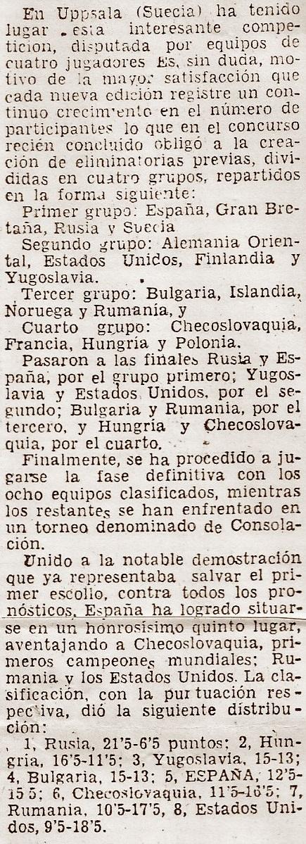 Recorte de prensa sobre el III Campeonato Mundial Universitario de Ajedrez - Uppsala 1956