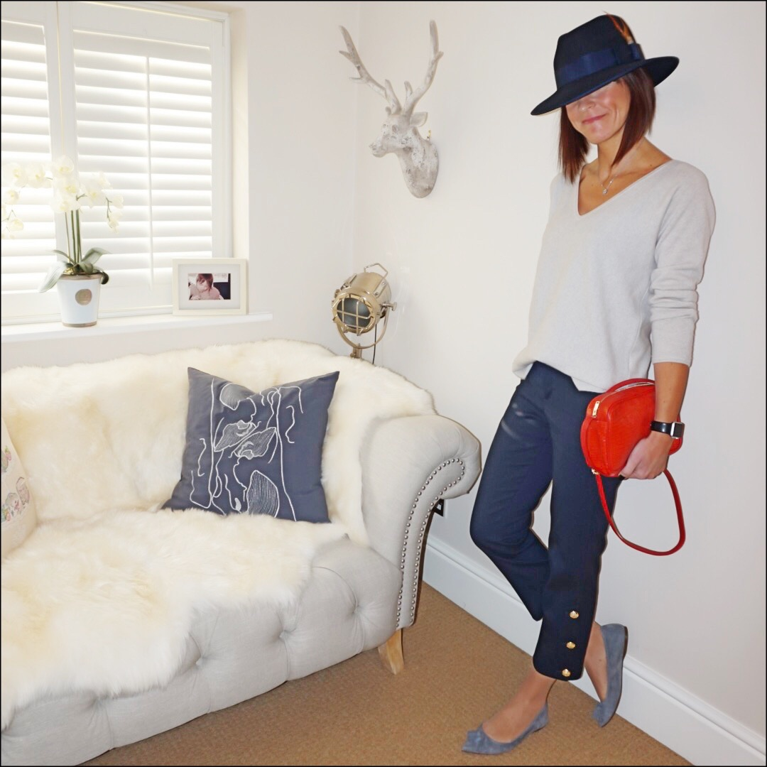my midlife fashion, boden relaxed fit cashmere v neck jumper, hawes and curtis navy madison fedora hat, uterque mock croc crossbody bag, zara cropped military trousers, j crew pointed tassel flats