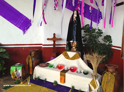 Altar of Lady Sadness during the Holy Week in Patzcuaro