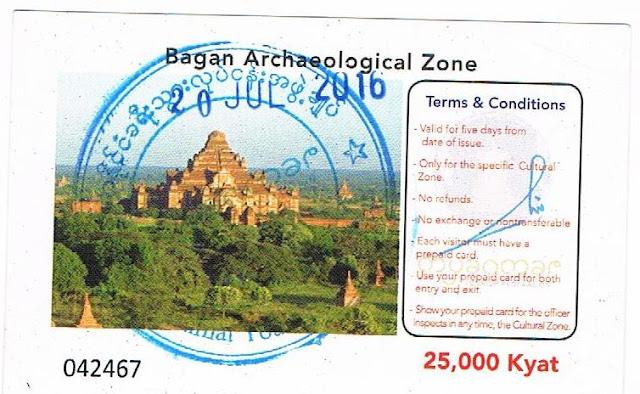 Ticket para visitar la zona de Bagán
