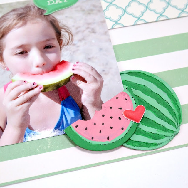 Acrylic Painted Watermelon Slice Chipboard Embellishments