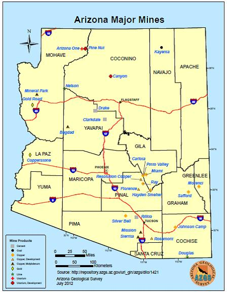 Map Of Arizona Mines.Arizona Geology Arizona Major Mines Map Updated