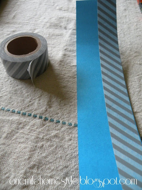 Blue paper and gray washi tape