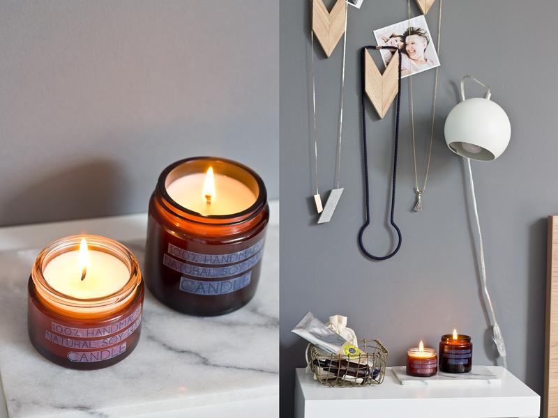 świeczki z naturalnego wosku sojowego, diy, dekoracje sypialni, dekoracyjne świeczki sojowe, brązowe słoiczki po kosmetykach