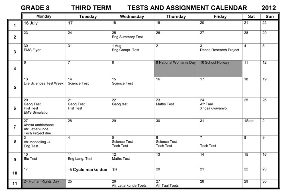 Camps Bay High School: CBHS Grade 8 Tests & Assignments
