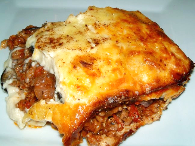 a slice of moussaka