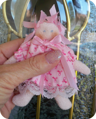 Dinky Baby doll for breast cancer awareness