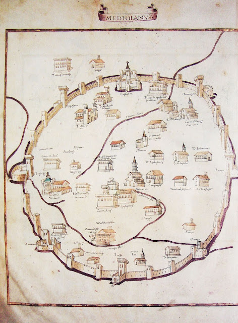 Medieval map of Milan from the Vatican Library, drawn in 1472, shows the walled Milan as very round and circular