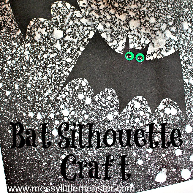 Bat silhoutte craft for kids with bat template
