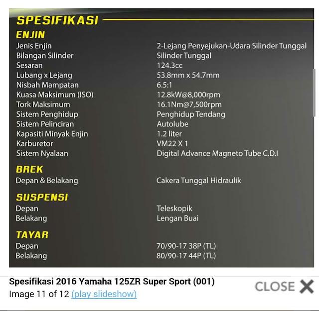 Yamaha 125ZR Super Sport Kuning 2016