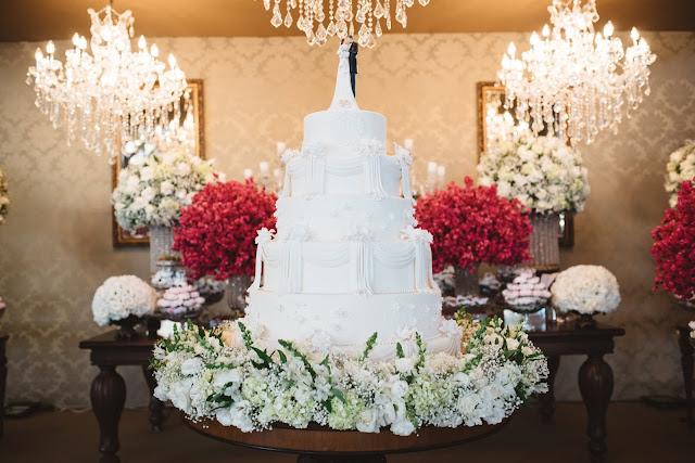 casamento real, recepção, porto vittoria, decoração, mesa do bolo, branco e rosa