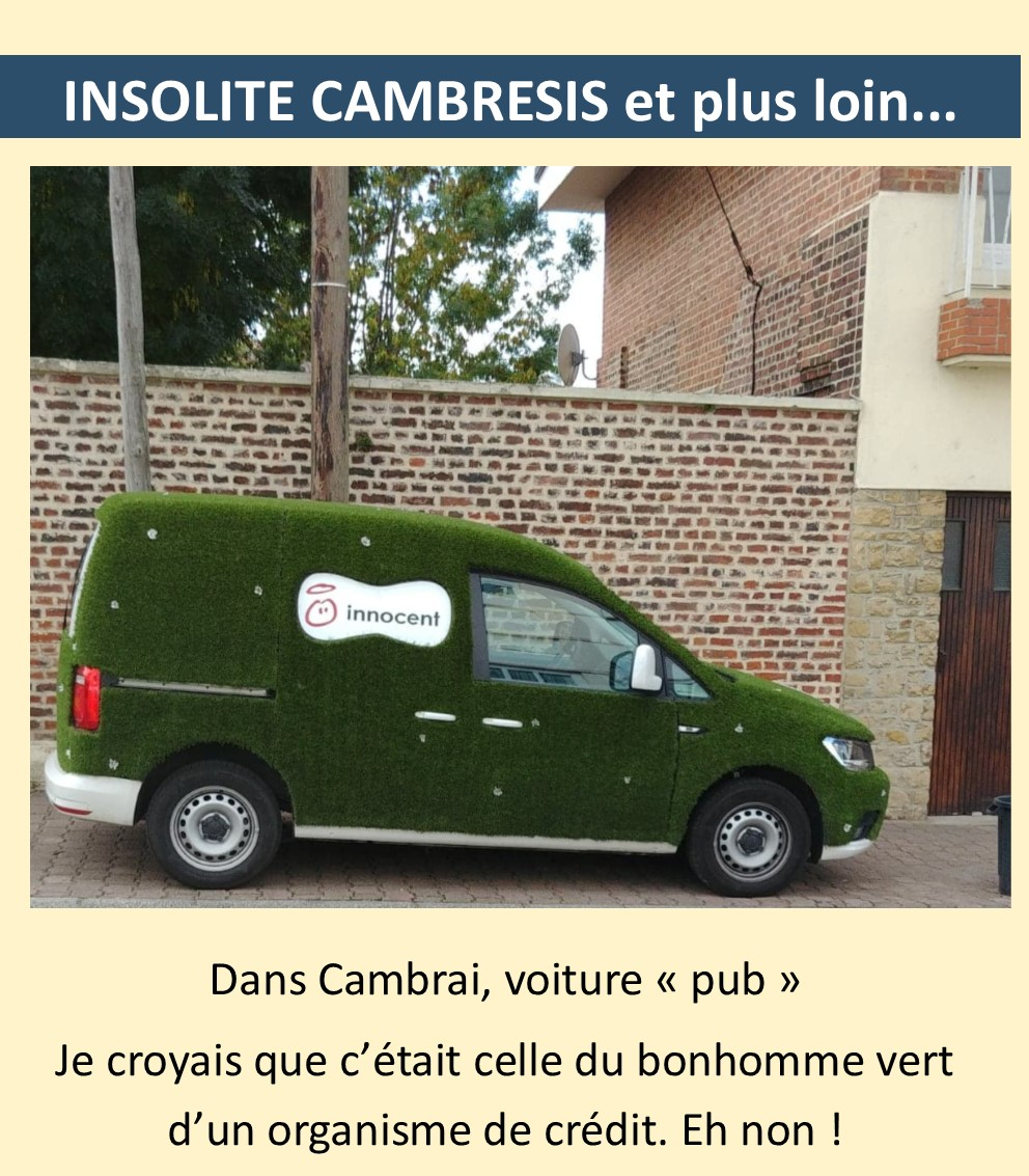 Credit Bonhomme Vert surprenant, non ? une voiture verte quelle pub ?   proville
