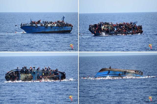 NAAS !! Momen Dramatis Kapal Imigran Libya Terbalik di Laut Mediterania