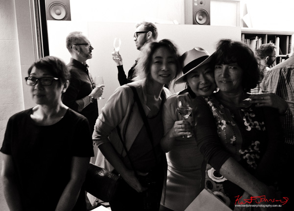 Jackie Hung, Vivienne Shui & Sandy Edwards at Badger & Fox Gallery for the opening of Click!
