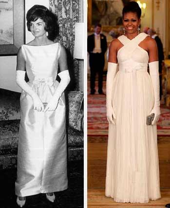Jacqueline Kennedy e Michele Obama vestido festa