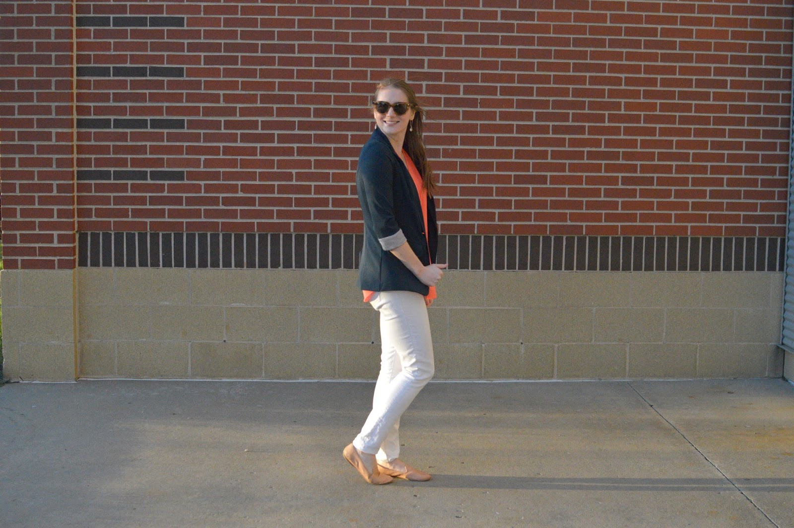 navy coral and white outfit idea | spring outfit ideas | a memory of us