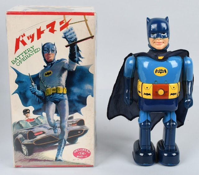 Rare TN Japan battery-operated Walking Batman, 12 inches, new/old store stock with pristine original Japanese-version box, set a new world auction record at $16,800