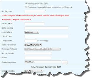 Formulir pendaftaran BPJS Online