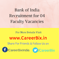 Bank of India Recruitment for 04 Faculty Vacancies