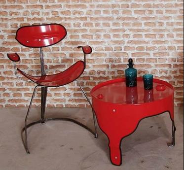 kursi cafe unik dari drum bekas
